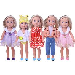 LuckDoll 5 Pcs Set Doll Clothes Outfits Fit for 14.5 inch Am