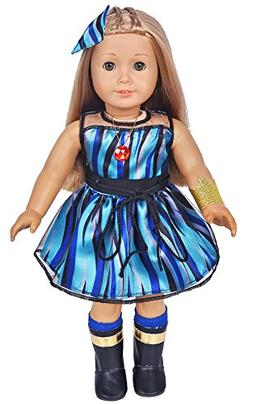 ebuddy 6pc/Set Evie Inspired Costume Doll Clothes Dress Incl