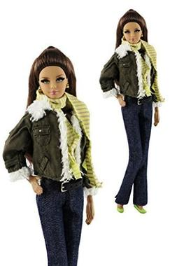7-in-1 Barbie Clothes Daily Oufit | Coat, Vest, Pants, Scarf