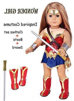 ebuddy 9pc/Set Wonder Girl Inspired Costume Leather Doll Clo