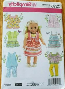 "Simplicity Sewing Pattern 2296 fits 18"" doll clothes & Ameri"