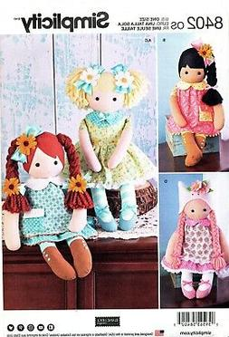 "SIMPLICITY SEWING PATTERN 8402 23"" Stuffed Dolls and clothes"