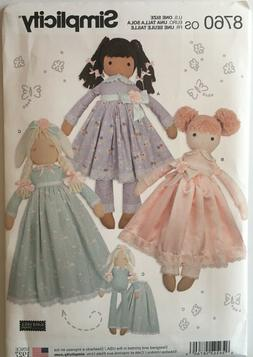 Simplicity Sewing Pattern 8760 Stuffed Rag Doll Dolls & Clot