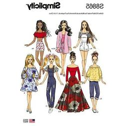"""Around The Clock Wardrobe Fits BARBIE Doll Pattern /""""A/"""" 11-1//2 Knits NO SEWING"""