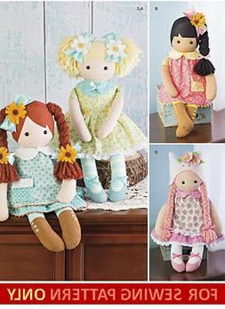 SEWING PATTERN! MAKE 23 INCH CLOTH RAG DOLLS~CLOTHES~SHOES~H