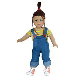 Ebuddy Short Sleeve And Jeans Overalls Doll Clothes Set Fits