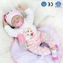 Silicone 22''Vinyl Reborn Newborn Dolls Lifelike Baby Girl D