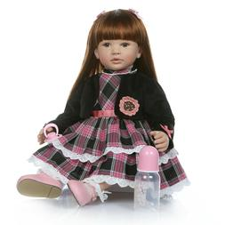 Silicone 60cm Reborn Toddler Dolls Brown Hair with Clothes P