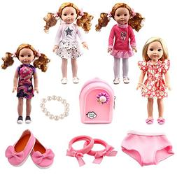 TSQSZ 4pcs Doll Clothes 1Backpack 1Bracelet 1Hair Accessorie