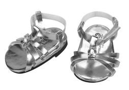 Silver Doll Sandals, Doll Shoes Fits 18 Inch American Girl D