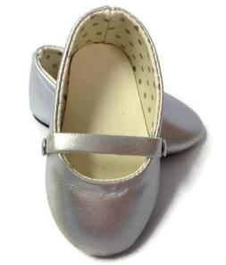 "Silver Flats Shoes made for 18"" American Girl Doll Clothes"