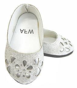 "Silver Glitter Bling Ballet Flats Shoes for 18"" American Gir"