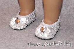"Silver Glitter Flats w/Jewel fit 18"" American Girl Size Doll"