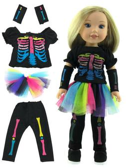 """Skeleton Halloween Costume Doll Clothes For 14.5"""" American G"""