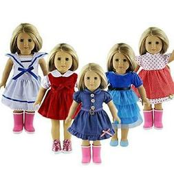 ZWSISU 5pcs Stylish Doll Outfits Clothes Set Fit 18 inch Ame