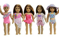ZITA ELEMENT 5 Sets American Girl Doll Summer Bikini Swimwea