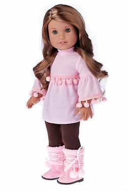 Sweet Pea - 3 Piece Doll Outfit - Clothes Fits 18 Inch Ameri