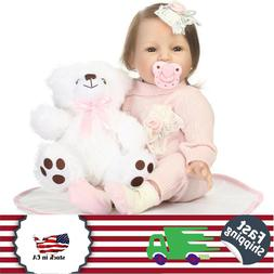 """Sweet Reborn Baby Dolls 22"""" Toddler Girl with Light Pink Clo"""