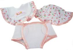 Sweet Trio of Accessories Hat Bib Diaper for Bitty Baby Doll