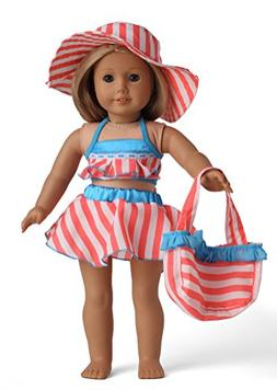 Doll Clothes 5pc Swimwear Bikini Outfit Fits 18 Inches Ameri
