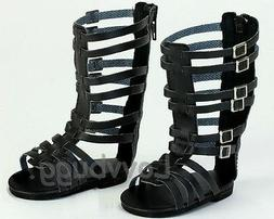 Tall Black Gladiator Sandals Shoes for American Girl 18 inch