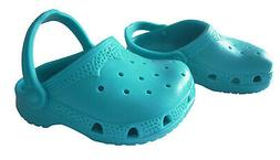 "Teal Blue Krocs Shoes for 18"" American Girl & Bitty Baby Dol"