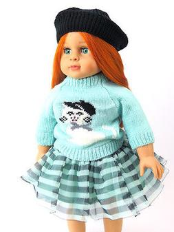 "Teal Stripe Cat Skirt Set Fits 18"" American Girl Doll Clothe"
