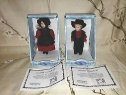 """THE BROADWAY COLLECTION PORCELAIN DOLLS AMISH BOY & GIRL 6"""""""