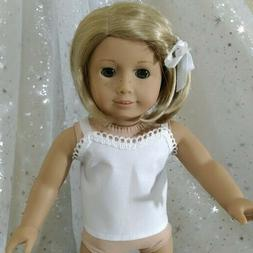 TOP Fits 18 inch  American Girl Doll Clothes WHITE COTTON CA