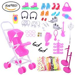 TSLIKANDO Total 108pcs-10 Pack Doll Clothes Party Gown Outfi