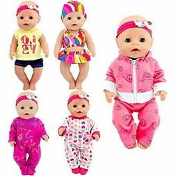 ebuddy Total 5 Sets Baby Doll Clothes Include Bikini Rompers