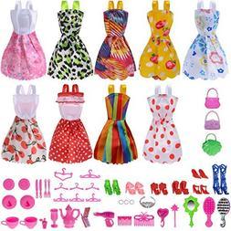 Total 50pcs -9 Pack Doll Clothes Party Gown Outfits +41pcs D