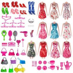 Total 120pcs -10 Pack Doll Clothes Party Gown Outfits +10pcs