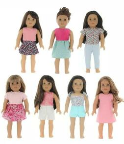 PZAS Toys 7 Outfit Set, 18 Inch Doll Clothes, Compatible Ame