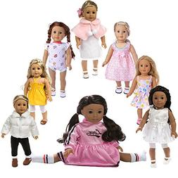 ZWSISU Toys American Girl Doll Clothes 8pcs Sport Outfits, F