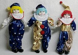 Trio Clown Porcelain Doll 7 Inches with Flag Day Cloth by Jo