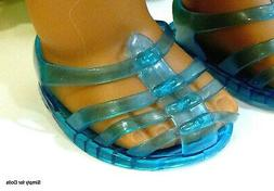 """TURQUOISE Jellies DOLL SANDALS SHOES fit 18"""" AMERICAN GIRL D"""