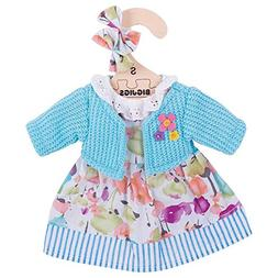 Bigjigs Toys Turquoise Rag Doll Cardigan and Flowery Dress f