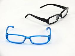 "Two Pair of Black and Blue Reading Glasses | Fits 14"" Wellie"