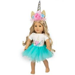 Unicorn Doll Clothes Blue Dress Tulle Outfits For America 16