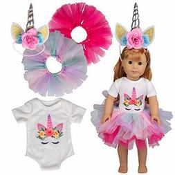 Dress Along Dolly Unicorn Doll Clothes for 18 Inch American