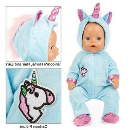ebuddy Unicorn Jumpsuit Sets Include Sky Blue and Pink Doll