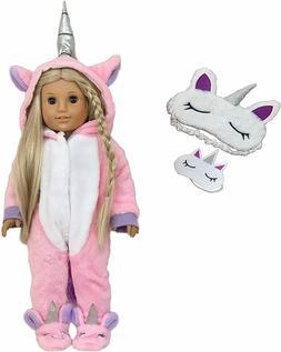 Unicorn Pajamas with Matching Beauty Masks for 18 Inch Dolls