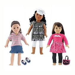 18-inch Doll Clothes | Value Bundle - Set of 3 Doll Outfits,