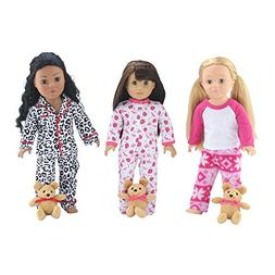 18-inch Doll Clothes   Value Bundle - Set of 3 Doll Pajamas,