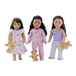 18-inch Doll Clothes | Value Bundle-Set of 3 Doll Pajamas, E