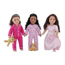 18-inch Doll Clothes | Value Bundle - Set of 3 Doll Pajamas,