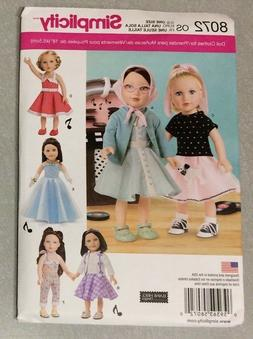 Simplicity Patterns Vintage Inspired 18 Inch Doll Clothes Si