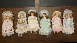 """Vintage Porcelain 8"""" Doll Soft Body Hat Bonnet Ribbon Lace T"""
