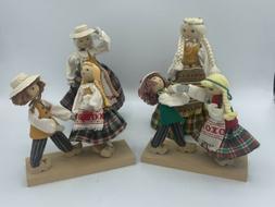 Vintage Wooden Dolls Lithuanian folk traditional dress ANDO